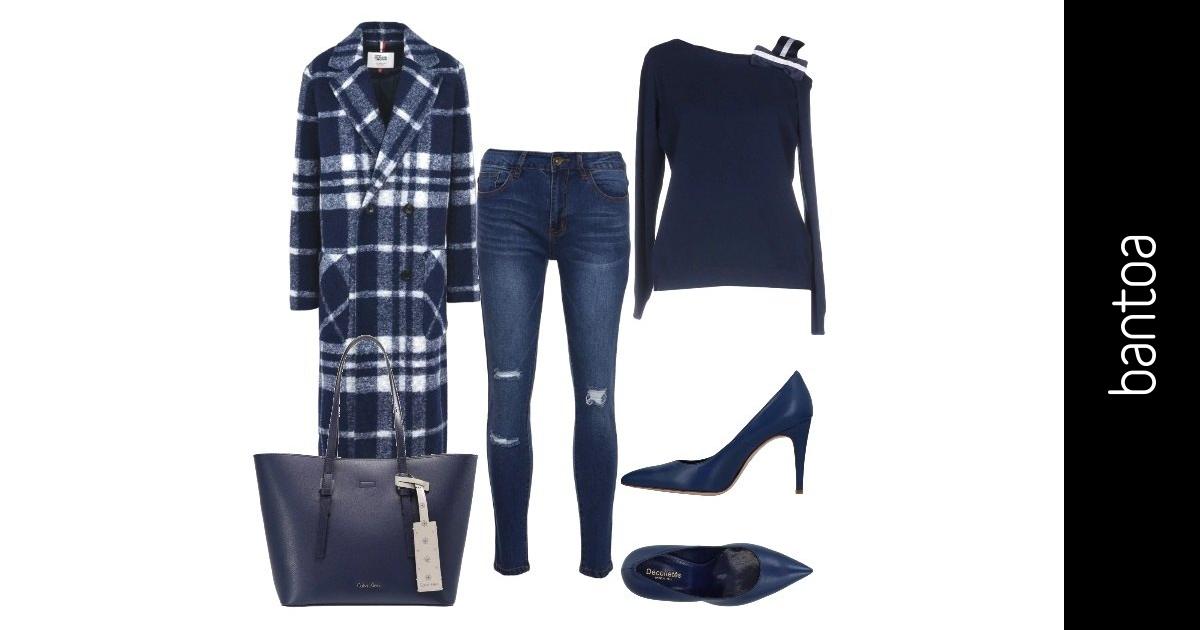 Il cappotto blu e bianco a quadri outfit donna trendy per for Ufficio bianco e blu