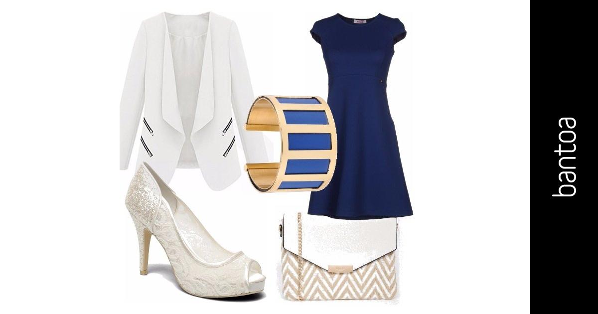 Blu E Bianco Con Tocchi D 39 Oro Outfit Donna Per Ufficio E