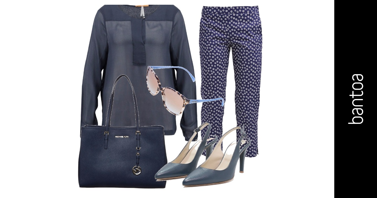 Blu E Bianco Outfit Donna Basic Per Ufficio Bantoa